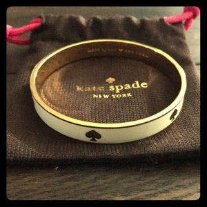 Kate Spade White bangle with gold spades
